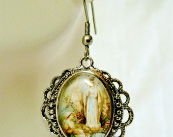 Our Lady of Lourdes glass earrings - AP06-162