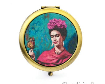 1pcs Frida Kahlo Mirror Compact Mirror Antique Bronze Silver Gold Makeup Mirror, Personalized Mirror - HPM018Y