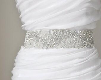 """2"""" Bridal crystal belt, rhinestone sash, bridal sash, bridal belt"""