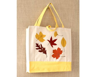 Sturdy Canvas Bag, Tote Bag, Autumn Leaves, Fall Colors, Reusable Tote Bag, Eco Friendly Bag, Shopping Bag, Book Bag, Teacher gift
