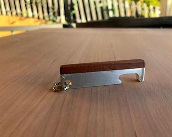 Hand Made Reclaimed Aluminum/Mahogany Keychain Bottle Opener