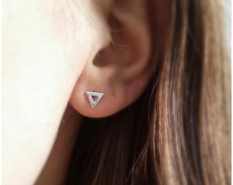 Earrings are made of Silver 925, triangle studs - Stud Earrings-925 silver triangles sterling triangle earrings