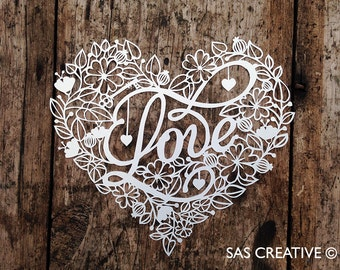 Papercut Template 'Love' Valentine's Heart PDF JPEG for handcutting & SVG file for Silhouette Cameo or Cricut