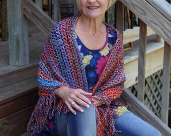 Crochet Fringe Shawl, Crochet Fringe Wrap, Crochet Triangle Shawl, Crochet Shawl, Crochet Wrap, Crochet Scarf with Fringe, Boho Wrap