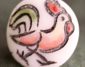 Glass Kiddie Button with Rooster