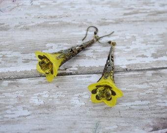 SALE - Yellow Bell Flower Earrings, Vintage Inspired Lucite Flower Earrings