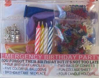 BIRTHDAY in a BOX: emergency birthday party kit