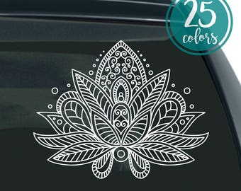 Lotus Flower Decal - Mandala Lotus Flower - Lotus Decal - Mandala Car Decal - Mandala Laptop Sticker - Inspirational - Lotus Flower - Decal