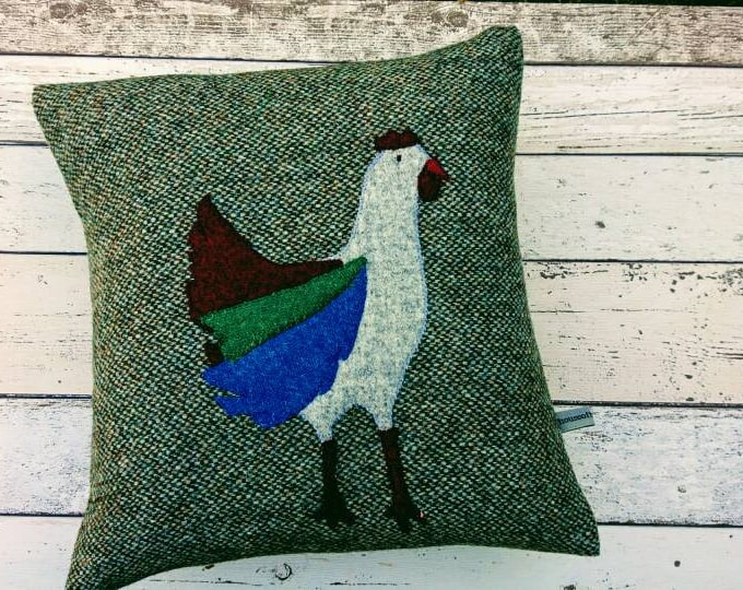 Hand Crafted Harris Tweed  chicken cushion cover