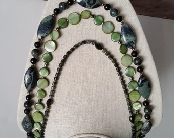 MULTISTRAND STONE NECKLACE Green Kambaba Jasper and Mother-of-Pearl Discs. Three Strand Stone Necklace. Green Fossil Stone. 28 Inch Length.