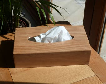 Mansize oak tissue box cover - natural oak
