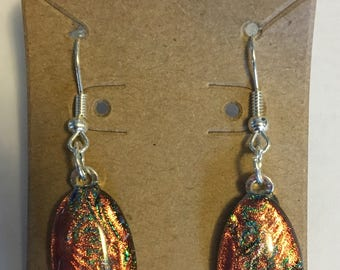 """Dichroic Glass Earrings with Gorgeous Shimmering Orange Oval Stones on Hypoallergenic Ear Wires - About 2"""" long"""