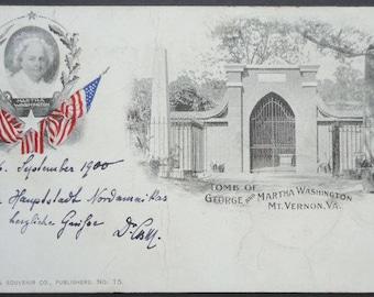 Martha Washington, Mt Vernon, Tomb of George & Martha Washington, First Lady, Private Mailing Card, 1900