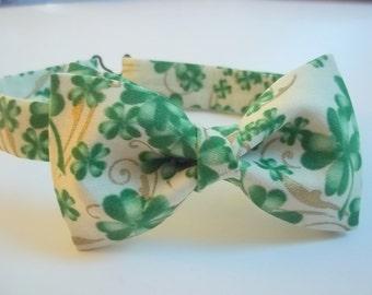 New Shamrock Bow Tie-Boys to Men-St. Patrick's Bow Tie-Green Shamrocks-Green Bow Tie-Irish Bow Tie