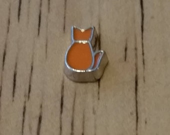 1 - Orange Cat Charm - Floating Pendant - Floating Locket - Memory Locket - Memory Pendant