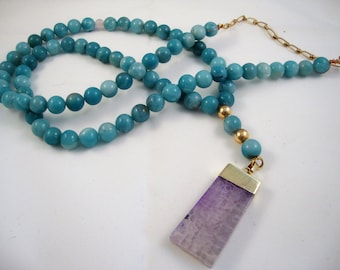 "37"" long turquoise amazonite layering necklace with purple agate pendant"
