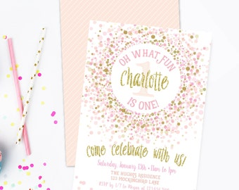 Pink and Gold Birthday Party Invitation, Prints, 1st Birthday Invite, First, Pink Gold Confetti, Sprinkles, Glitter, Girl, 2nd, 3rd,Printed
