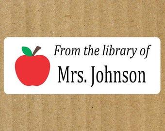 Apple Book Labels, 90 Labels, Teacher Apple, Teacher Labels, Book Labels, Teacher Book Labels, Apple Book Labels, Library Labels, Teacher
