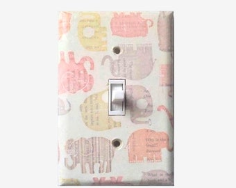 Elephant nursery - Vintage elephant light switch cover - Elephant Decor - Elephant Room Decor - Elephant baby shower - Elephant theme