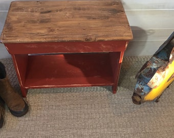 Bench, Coffee Table, Pine Bench, Wooden Bench, Red Bench, Bench w/Shelf, Entryway Bench, Mudroom Bench, Farmhouse Bench, Bedroom Bench