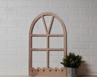 Cross Swiss Plus Sign Scalloped Arched Wooden Window Frame Wall Art Sign