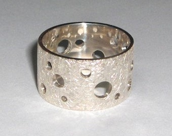 silver ring Swiss Cheese by AnOtherRing to order
