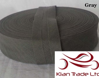 25 mm ( 1 inch ) Wide 100% Cotton Bias Binding tape single folder craft sewing dress material - Gray Color
