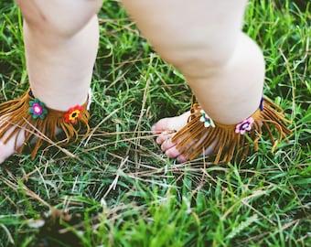 Floral fringe anklets