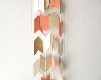 Arrow Garland in Champagne, Salmon and Gold Leaf