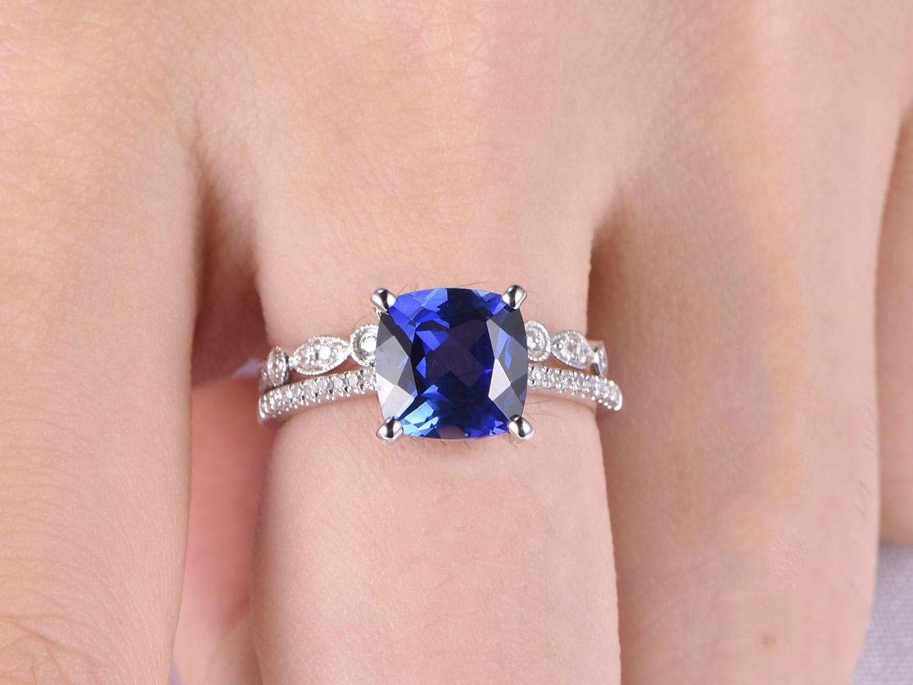 Blue Sapphire Ring Set 8mm Cushion Cut Sapphire Engagement