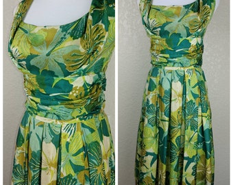 Gorgeous Alfred Shaheen Vintage Silk Green and Gold Hawaiian Dress