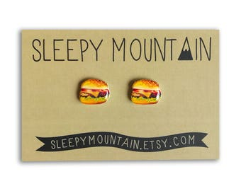 Burger Stud Earrings - Cheeseburger