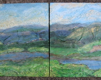 Mountain landscape paintings, Pair of mountain paintings, Mountain landscape, Set of paintings, Mountain painting pair, Georgia mountain art