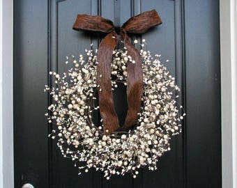 Cream Wreaths - New Years Berry Wreaths - Berry Wreath - Spring Wreaths - Neutral Colored Wreath