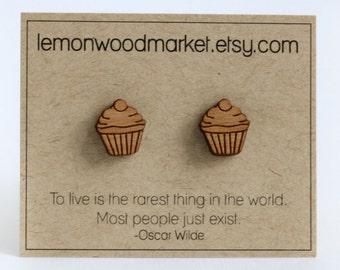 Cupcake earrings - alder laser cut wood earrings
