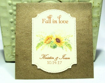 Rustic Wedding Favors - Sunflower Seeds - Personalized - Fall in love - Set of 10 - Sunflowers - Fall - Autumn - You choose ribbon color