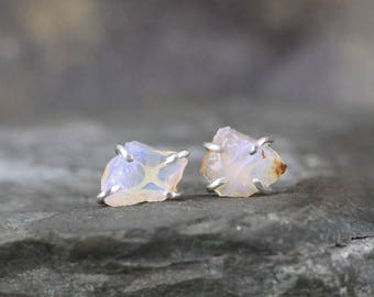 Opal Earrings - Uncut Raw Rough Opal Earring - Sterling Silver Stud Style - Rustic Shape - October Birthstone - Raw Gemstone Earrings