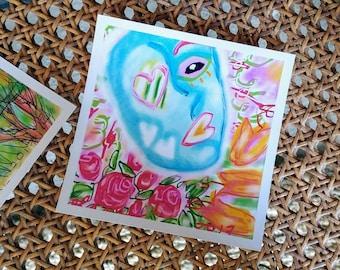 "ARTbyelaine entitled ""RoseGarden"" 5x5"" print of original artwork"