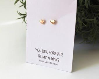 Heart earrings/Valentine's Day earrings/Valentine's Day gift/Heart stud earrings/Heart jewelry/Gift for her/Small stud earrings/ Earrings