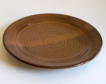 Amber and Brown Dinner Plate - Wheel Thrown Red Clay Pottery - Ready to Ship