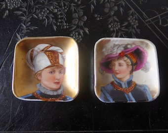 Hand Painted Porcelain Pin Dishes with Elegant Man and Woman Gold Background Couple Lady and Gentleman with Turban