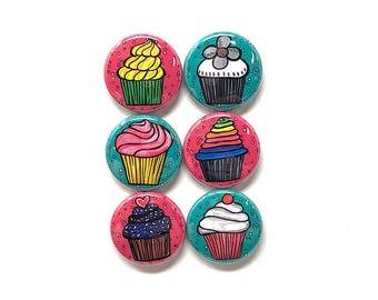 Cupcake Magnets or Cupcake Pinback Buttons - Cute Food Magnets or Food Pins Set - Kitchen Fridge Magnets or Button Badges