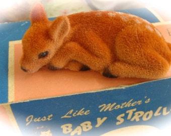 Vintage Adorable Flocked Baby Doe Deer with Life Like Eyes