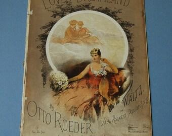 Antique sheet music, Loves Dreamland by Otto Roeder, Waltz sheet music, Art Nouveau woman portrait