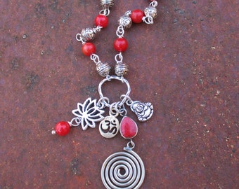 Buddha OM and Lotus Charm Necklace - Coral Charm Necklace - Coral Tibetan Swirl Charm Necklace