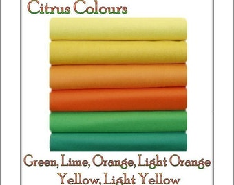 Felt Fabric  Chemical Free Squares  Citrus Shades  12 squares - 12 x 10