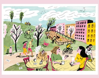 SPRING   seasons in the city A4 illustration print
