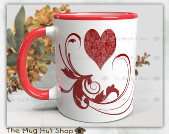 I Love You Mug with Hearts and swirls | anniversary gift | Hearts l Valentine | Mothers Day | Girlfriend Gift | Ceramic Mug |  Gift for her