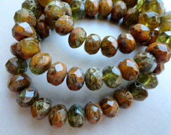 6x8mm Rondelle - Orange Olive Green - Full Picasso - Fire Polished Premium Czech Glass