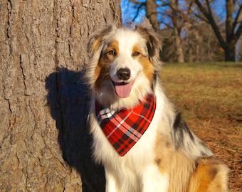 Plaid Dog Bandana - Dog Scarf - Dog Bandana Over the Collar - Flannel Dog Bandana - Cute Dog Bandana - Gifts for Dogs - Pet Accessories